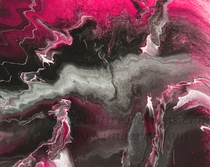Lightning Series - Pink - Gray Downloadable Art Print Hand Painted Abstract Liquid Fluid Flow Art Dirty Pour Multiple File Sizes JPEG Files