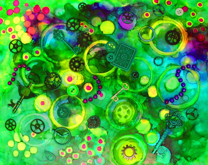 Steampunk Green Bubbles Neon Downloadable Art Print Hand Painted Abstract Collage Keys Clocks Gears Recycled Multiple File Size JPEG Files