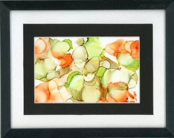 """Original Alcohol Ink Painting 7.5x9.5 framed abstract air brush art desk size one-of-a-kind 4x6"""" orange and light dark green random circles"""