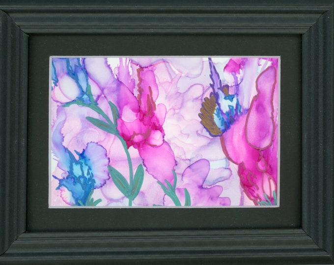 """Original Alcohol Ink Painting ArtByLeClaireDesigns 6.5x8.5 framed abstract air brush art desk size one-of-a-kind 4x6"""" pink purple floral"""
