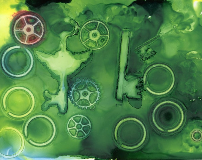 Original Green Steampunk Alcohol Ink Painting 5x7 desk size one-of-a-kind ArtByLeClaireDesigns unframed abstract ghost gears and keys circle