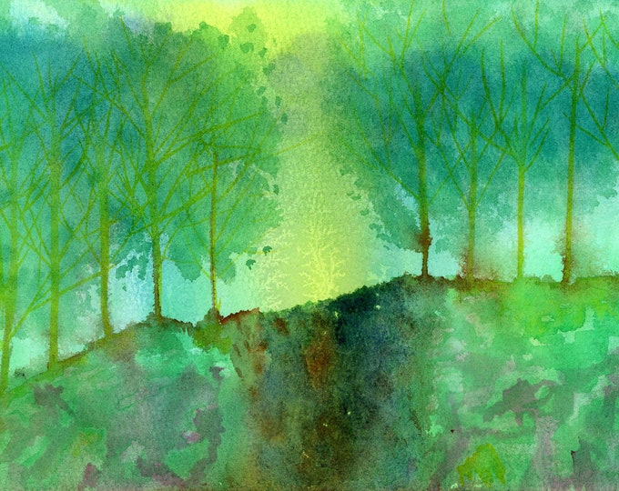 7x10 Original New Abstract Watercolor Sunlit Waterfall Emerald Yellow Forest Trees one a kind hand painted not a print signed brilliant sky
