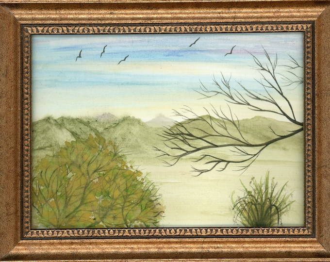Watercolor New Framed Original Hand Painted Landscape Signed Not A Print ArtByLeClaireDesigns Birds Serene Blue Sky Green Hills