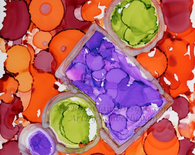 3-D Orange Circles Square - Downloadable Art Print - High Resolution Hand Painted - Alcohol Ink Painting 1:1 Ratio - Fluid Flow Art Abstract