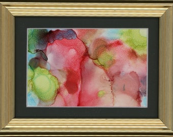 """Original Alcohol Ink Painting 8x6 framed abstract air brush art desk size one-of-a-kind 4x6"""" red and green blue fluid art dotted gold frame"""