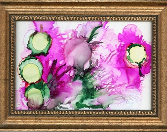 Original Alcohol Ink Painting on glass 5x7 framed abstract air brush art desk size one-of-a-kind fluid art vibrant pink and green flowers