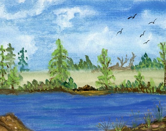 River Bank Original Gouache Landscape water hand painted trees rocks birds blue sky clouds Not a Print shoreline peaceful small painting