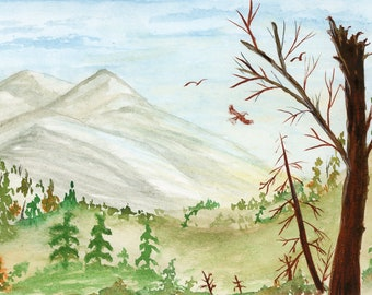 New Watercolor Landscape Where Eagles Fly 6x9 inch original not a print hand painted mountain birds broken tree barren branch forest blue
