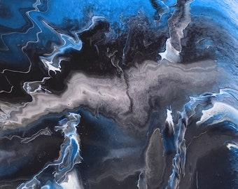 Blue Lightning Series - adaption from original LeClaire acrylic liquid pour painting - abstract art