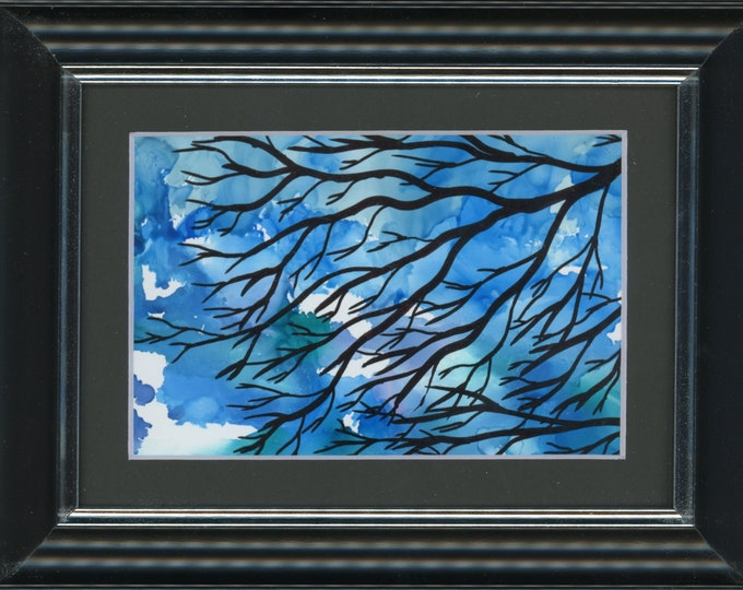 """Original Alcohol Ink Painting ArtByLeClaireDesigns 6.5x8.5 framed abstract air brush art desk size one-of-a-kind 4x6"""" blue sky barren tree"""