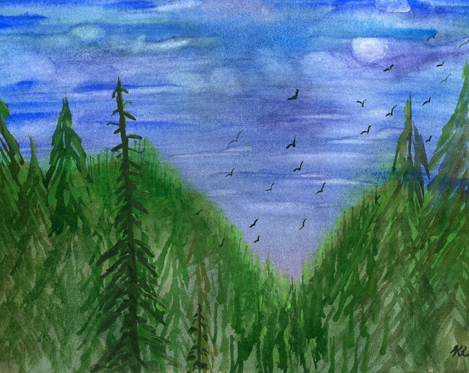 Night Birds original watercolor one of a kind 9x12 landscape forest hand painted green pine trees full moon clouds night sky black birds