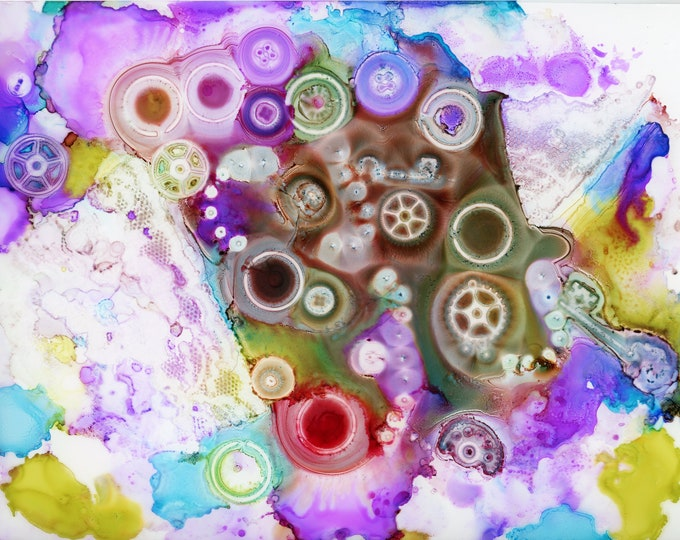 Original Rainbow Steampunk Alcohol Ink Painting 8.5x11 one-of-a-kind ArtByLeClaireDesigns unframed abstract various gears buttons beads keys