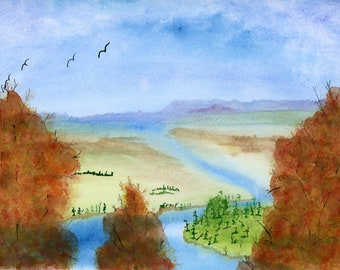 River Valley 2 New Watercolor Landscape Autumn Trees Painting one of a kind art 9x12 inch original not a print water mountains fall relaxing