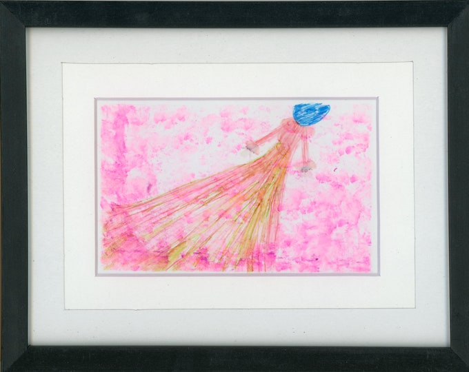"""Original Alcohol Ink Painting 7.5x9.5 framed abstract air brush art desk size one-of-a-kind 4x6"""" bright pink woman in dress with blue hat"""