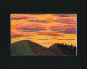 Sunset Fire Pastel and Pan Pastel Painting one of a kind art 11x14 inches black mat original orange red sky black mountain silhouette