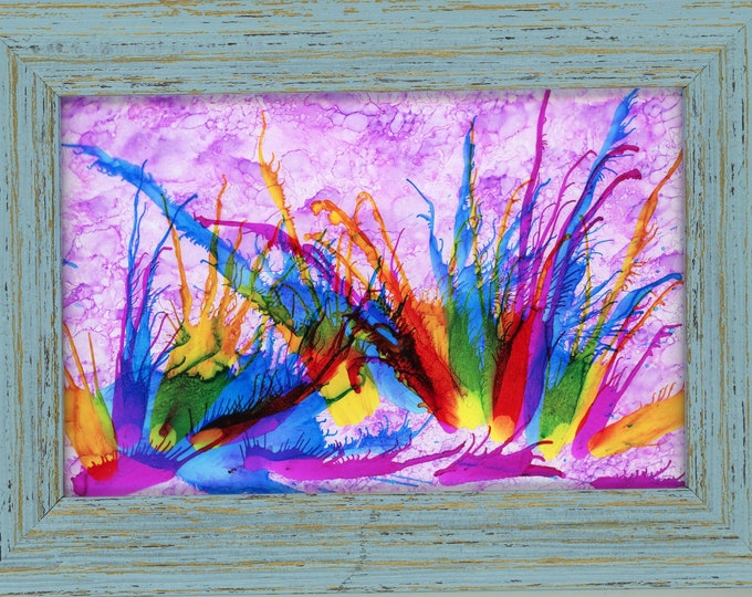 Framed Original Alcohol Ink Painting ArtByLeClaireDesigns 4x6 painting on glass 5x7 frame soft pink rainbow flowers air brush art desk size