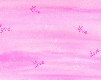 Hidden Love New Watercolor Postcard 4x6 Artbyleclairedesigns. New Painting FrontBright Pink Melted Abstract Post Mail Card Love Blank Back