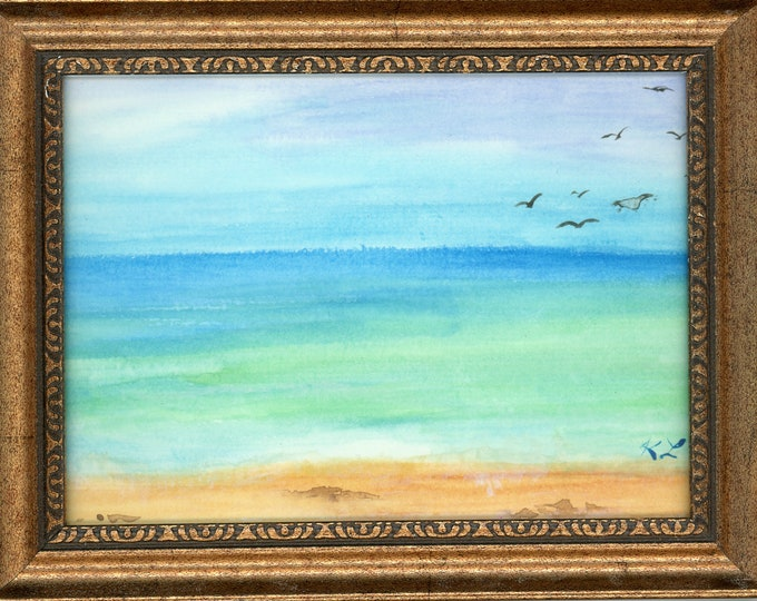 Watercolor New Plein Air Framed Original Hand Painted Landscape Signed Not A Print ArtByLeClaireDesigns Ft Lauderdale FL Beach Art