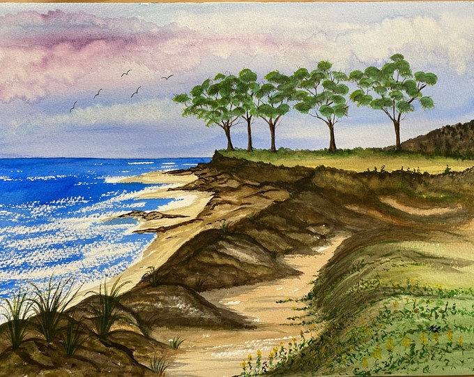 By the Sea signed original watercolor one of a kind 16x12 landscape hand painted pink sky rocks shoreline blue waves trees Not a Print birds