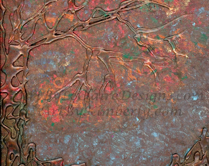 3-D Copper Rainbow Tree Square - Downloadable Art Print - High Resolution - Hand Painted 1:1 Ratio Sparkly Multi Colors - Glue Tree Abstract