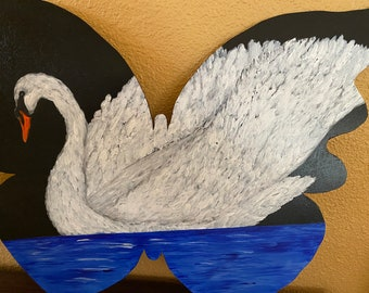 "Butterfly Swan original acrylic one of a kind 19x17"" custom unique wood hand painted signed piece ready to hang with authenticity paperwork"