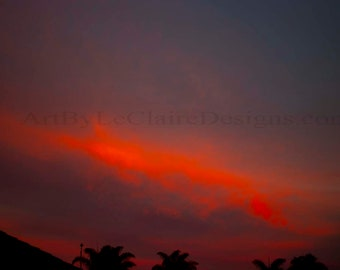 Meteor Strike Photoshop altered clouds in the sky Deep red glowing clouds Artbyleclairedesigns Photography Print Landscape Sunset Deep Blue