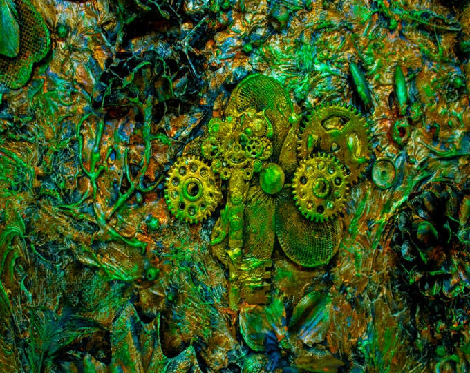 Keys and Gears Green 3D Neon Downloadable Art Print Hand Painted Abstract Collage Steampunk Keys Recycled Art Multiple File Size JPEG Files