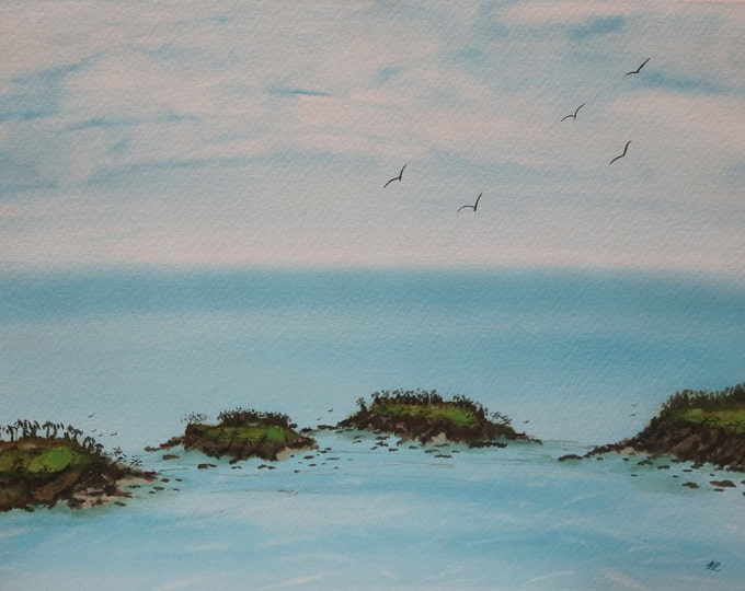 Island Course signed original watercolor one of a kind 16x12 landscape hand painted golf tropical shoreline blue waves trees Not a Print