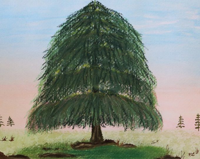 Powerful One pastel large pine tree landscape 9x12 hand painted emerging artist original ArtByLeClaireDesigns