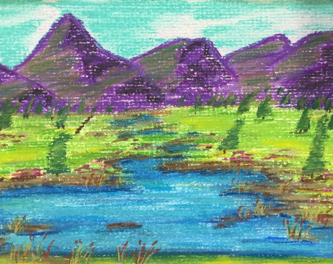 Purple Mountain Blue Lake Pastel New Original LeClaire Hand Painted 8.5x5.5 Not A Print ArtByLeClaireDesigns