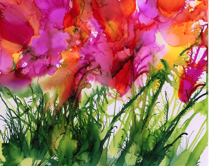 Original Abstract Hand Painted Alcohol Ink Painting 6x6 one-of-a-kind fluid flow art floral pink orange flowers plant bush airbrush art