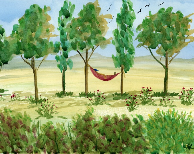 Sunday Nap original watercolor one of a kind 9x12 landscape large trees hammock soaring birds hand painted relaxing serene lazy sleeper