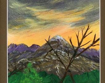 Acrylic Embellished Signed Print Original Painting Mountains Hand Painted Brown Mat Waterfall Purple Sky Orange Sunset Trees Landscape