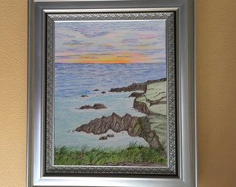 Black Sand Beach Sunset Colored Pencil Painting White 11x14 Mat Hawaii rocky coast one of a kind art original not a print orange pink sky