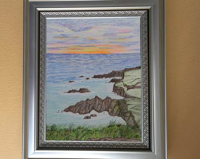 Black Sand Beach Sunset Colored Pencil Painting White 11x14 Mat Hawaii rocky coast one of a kind art original not a print orange pink sky