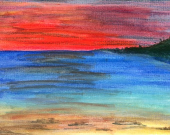 Red Dawn Vibrant Bright Colorful Watercolor Original New LeClaire hand painted Not Print ArtByLeClaireDesigns ocean beach island red sky