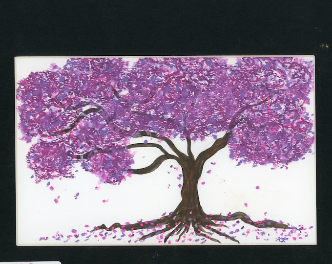 Purple Nature oil pastel painting one of a kind art in 8.5x11 black mat ready to frame authenticity paperwork cherry blossom tree flowers