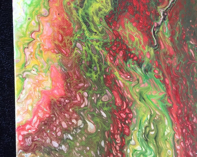 Abstract Liquid Original Poured Acrylic Painting - Dirty Pour Neon Green, Yellow, Red and Mixed Colors  11 x 14 inch box frame Xmas Colors