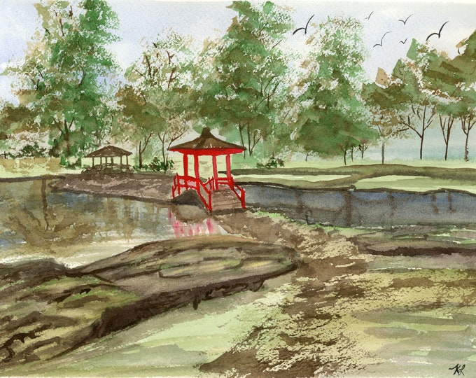 Hawaii Japanese Garden park lake original watercolor one of a kind 9x12 landscape serene peaceful red pagoda lush trees soaring birds