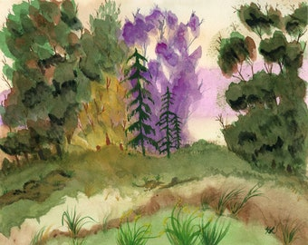 Downloadable Art Print - Lavender Tree - High Resolution - Watercolor Landscape Eucalyptus Hand Painted - golf course sand trap 5 file sizes