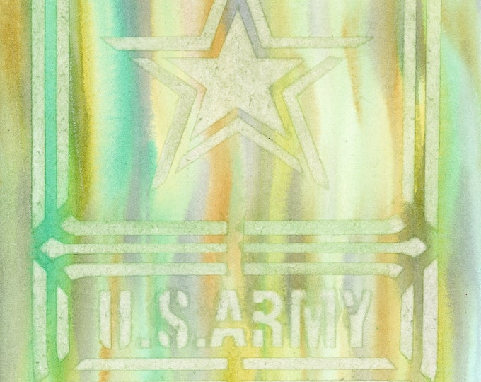 9x12 Original New Watercolor 9x12 U.S. Army Tie Dye Green Rainbow Stars Military Khaki Drippy Poured Teal Patriotic Poster Art not a print