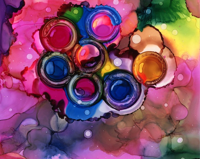 Original Abstract Rainbow Colored Alcohol Ink Painting 6x6 one-of-a-kind fluid flow art circles rings marbles airbrush art hand painted pink