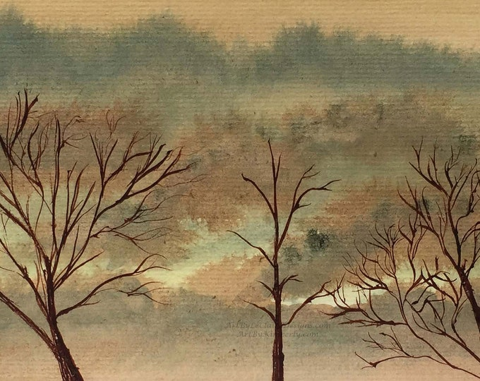 Autumn Trees - Downloadable Art Print - High Resolution - Watercolor Hand Painted - Mountains Trees Serene Painting 16:9 ratio Orange Sky