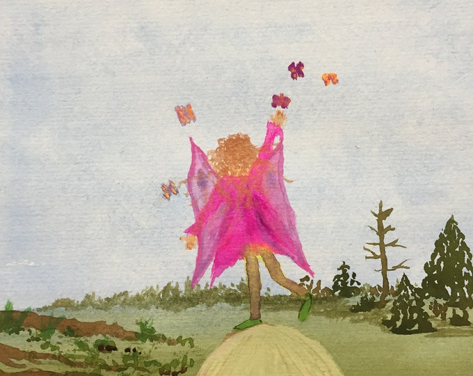 Pink Fairy Watercolor Painting one of a kind art 11x14 black mat ready to frame fantasy landscape fairy on a mushroom ArtByLeClaireDesigns