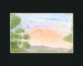Sunrise Birds original watercolor one of a kind  with 11x14 black mat ready to frame landscape orange sky birds serene ArtByLeClaireDesigns