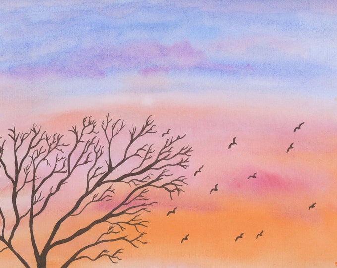 Sunset Birds original watercolor one of a kind 11x14 black mat ready to frame landscape orange pink sky tree serene ArtByLeClaireDesigns