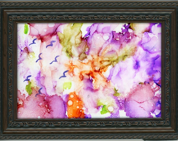 Original Alcohol Ink Painting ArtByLeClaireDesigns 5x7 framed abstract air brush art desk size one-of-a-kind fluid art vibrant purple birds