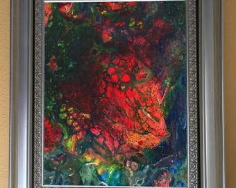 Red Glowing Center Core - adaption from my first original LeClaire acrylic liquid fluid dirty pour painting - new abstract fluid art eerie