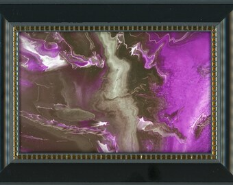 Black Framed Print of Original Purple Lightning ArtByLeClaireDesigns Abstract Picture 4x6 Print 5x7 Frame Art Acrylic Pour Desk Size