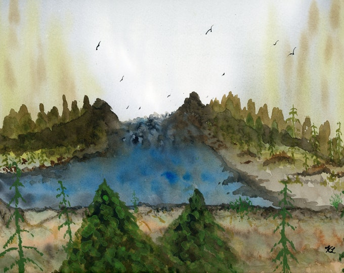 Waterfall Canyon original watercolor one of a kind 9x12 landscape mountain pine tree soaring birds river fog rapids hand painted forest